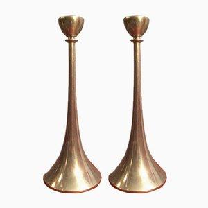 Candelabros Art Decó de estaño de Just Andersen, años 30. Juego de 2