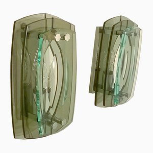 Italian Glass Wall Lights, 1960s, Set of 2