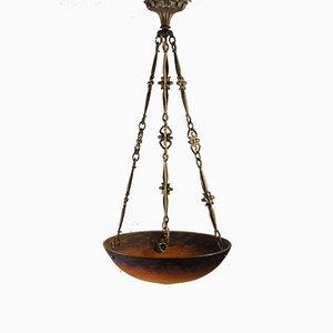Lámpara de techo vintage modernista naranja y azul de Müller Frères
