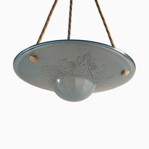 Lámpara colgante de vidrio prensado en azul claro, años 20