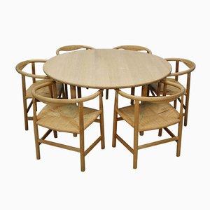 Tavolo da pranzo CH337 Mid-Century con sedie PP68 e PP201 di Hans Wegner per Carl Hansen