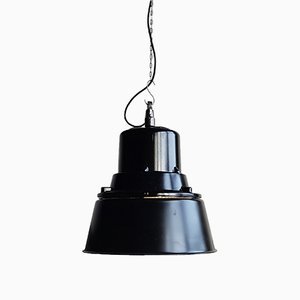 Lámpara colgante industrial polaca grande negra de Mesko, 1968