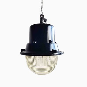 Large Polish Industrial Pendant Lamp in Black from Mesko, 1968