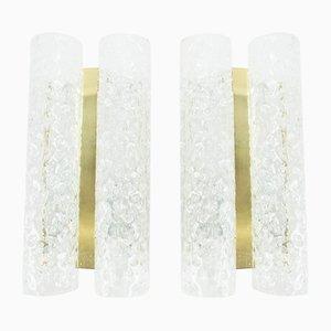 Apliques de latón y vidrio esmerilado de Doria, años 60. Juego de 2