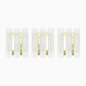 Apliques tubulares de latón y vidrio escarchado de Doria, años 60. Juego de 3