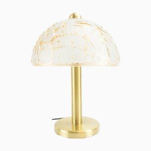 Lámpara de mesa de vidrio y latón de Peill & Putzler, años 60