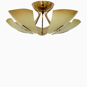 Lampada da soffitto in ottone e vetro di Doria, anni '50