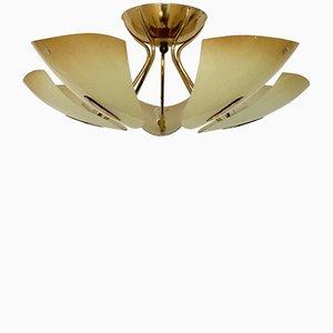 Lámpara de techo de latón y vidrio de Doria, años 50