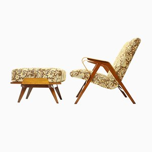 Armchair with Ottoman in Dark Beech from Tatra, 1960s