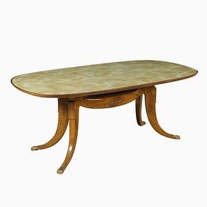 Table Vintage avec Plateau en Verre avec Effet Marbre, Italie