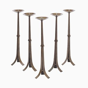 Tall Hammered Brutalist Brass Candleholders, 1970s, Set of 5