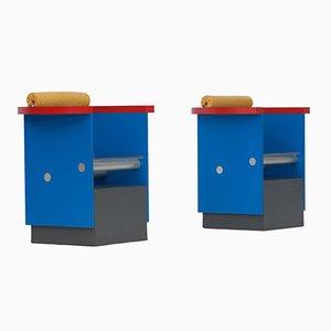 Armlehnstühle in Blau, Rot und Gelb, 1980er, 2er Set