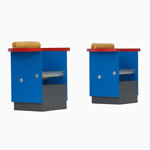 Poltrone blu, rosse, e gialle, anni '80, set di 2