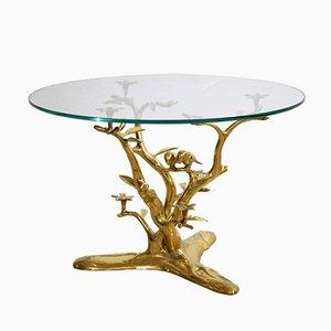 Table Basse Vintage en Laiton avec Oiseaux