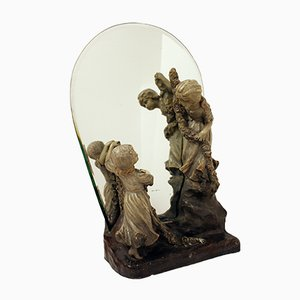 Antique Mirror with Figurines from Goldscheider