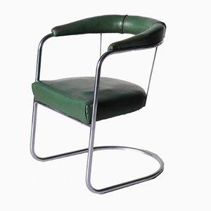Silla de escritorio SP4 vintage modernista de cromo de PEL, años 30