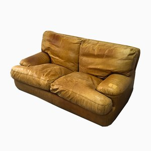 Leather Sofa with Feather Upholstery, 1970s