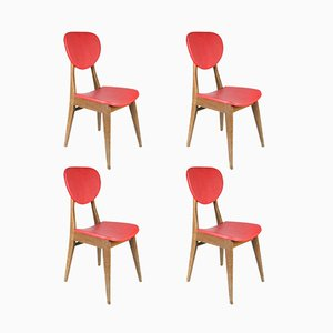 Rote Vintage Holzstühle, 4er Set