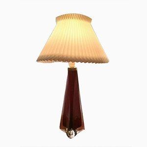 Grande Lampe de Bureau Triangulaire en Verre Rouge & Transparent par Carl Fagerlund pour Orrefors, 1960s
