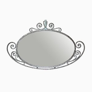 Ovaler Vintage Art Deco Spiegel, 1920er