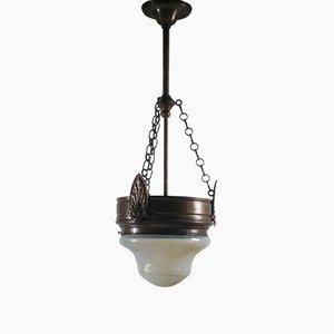 Lámpara de techo opalescente, década de 1900