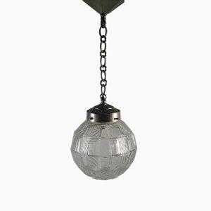 Lampada a sospensione Art Déco geometrica con sfera in vetro
