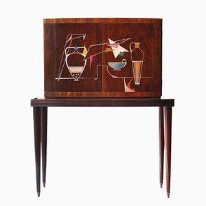 Rosewood Veneer Bar Cabinet, 1950s