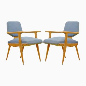 Mid-Century Italian Maple Armchairs, Set of 2