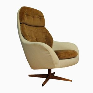 Vintage Danish Beige & Brown Armchair, 1960s