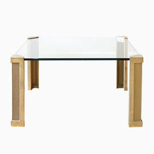 Table Basse en Laiton & Verre par Peter Ghyczy, 1970s