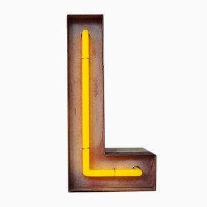 Lettera L vintage al neon