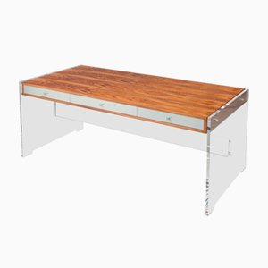 Mahogany & Lucite Desk with Chromed Steel Drawers by Poul Norreklit, 1970s