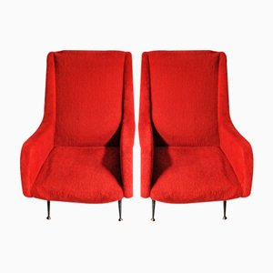 Mid-Century Armchairs with Wooden Frames, Set of 2