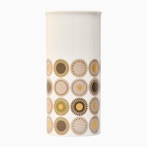 Vintage Cylindrical Porcelain Vase with Gold Circle Decor from Thomas