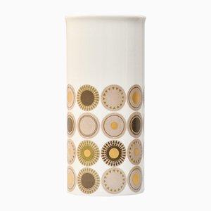 Zylindrische Vintage Porzellan Vase mit Goldfarbenem Kreisen von Thomas