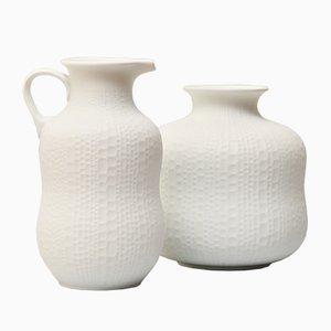 Handgemachte Weiße Vintage Biskuitporzellan Vasen von Royal Porzellan KPM, 2er Set