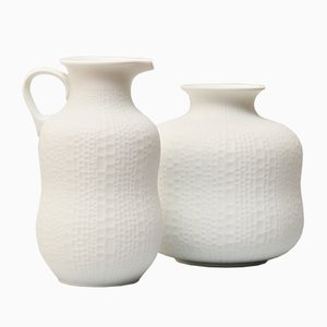 Vintage Handmade White Bisque Relief Decor Vases from Royal Porzellan KPM, Set of 2