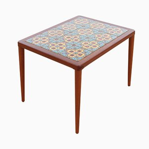 Mid-Century Modern Teak Coffee Table with Ceramic Tiles by H.W. Klein