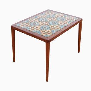 Table Basse Mid-Century Moderne en Teck avec Carreaux de Céramique par H.W. Klein