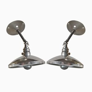 Vintage French Industrial Wall Lamps, 1950, Set of 2