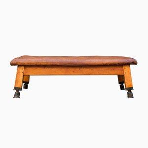 Large Gymnastics Leather Bench, 1930s