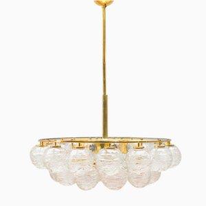 Lámpara de araña de latón y bolas de cristal de Doria, años 70