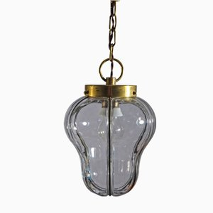 Neoklassizistische Deckenlampe aus Glas & Messing
