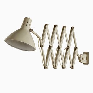 110 Industrial Scissor Lamp in Off White by H. Busquet for Hala, 1960s