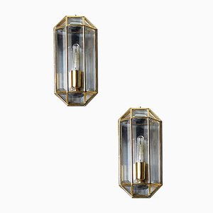 Geometric Mid-Century Modern Sconces in Brass, 1970s, Set of 2