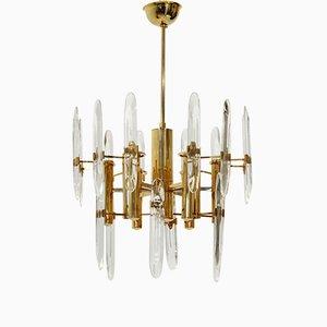 Lámpara de araña de latón de 9 luces de Gaetano Sciolari, años 70