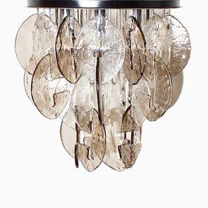 Lámpara de techo grande de vidrio y metal cromado de J.T. Kalmar Franken para Kalmar, años 70