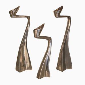 Candeleros Arclumis en forma de cisne de aluminio de Matthew Hilton para SCP. Juego de 3