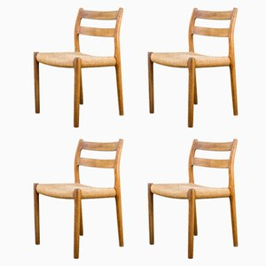 Model 84 Dining Chairs by Niels Otto Møller for J.L. Møllers, 1970s, Set of 4