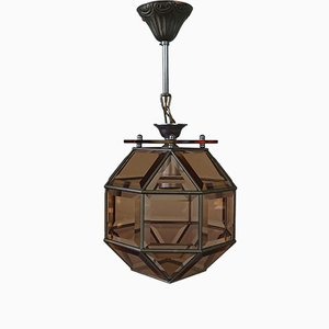 Octahedron Smoked Glass Ceiling Lights, 1960s, Set of 2